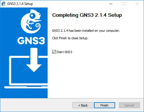 Pantalla de finalización de la instalación GNS3 Tutorial