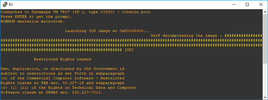Figura 2.8. Inicialización de router sin descompresión de la imagen IOS.