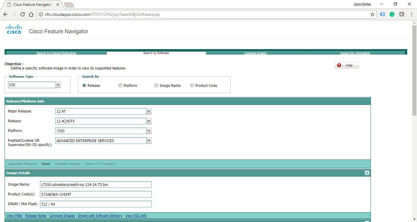 Figura 2.15. Cisco Feature Navigator, donde se puede encontrar las especificaciones de las imágenes.