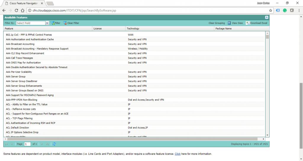 "Características o Features de la Imagen IOS ""c7200-adventerprisek9-mz.124-24.T5.bin"""