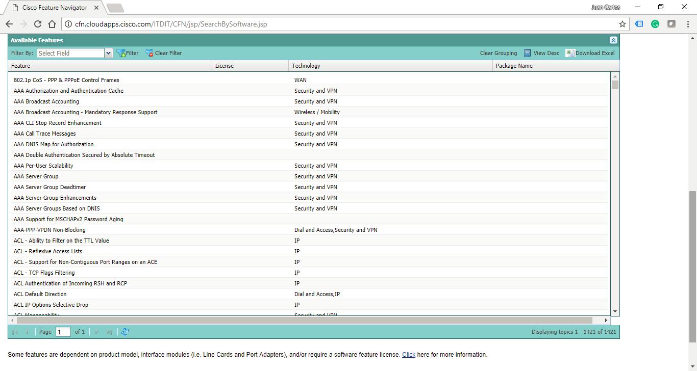 Visualización de las caracteristicas de la IOS Cisco GNS3