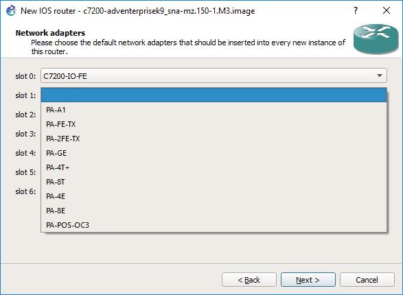 Figura 2.20. Selección de interfaces en los slots del 1 al 6
