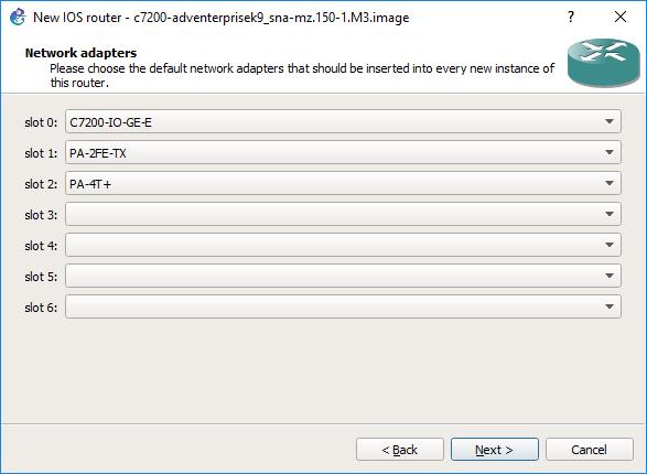 Interfaces de red configuradas en el router Cisco 7200
