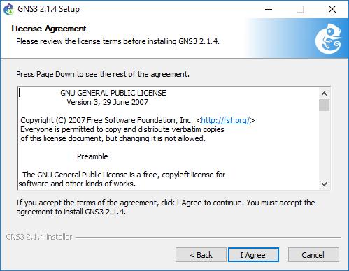 Acuerdo de Licencia para la ejecución de la plataforma GNS3 Tutorial