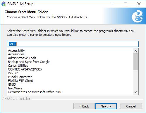 Pantalla para escoger el Folder para el acceso directo en menú inicio GNS3 Tutorial