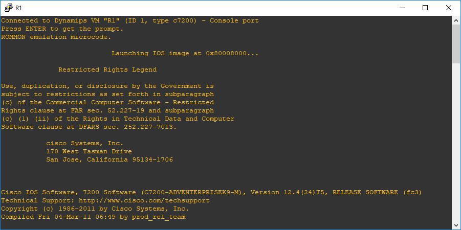 Inicialización de router con descompresión de la imagen IOS