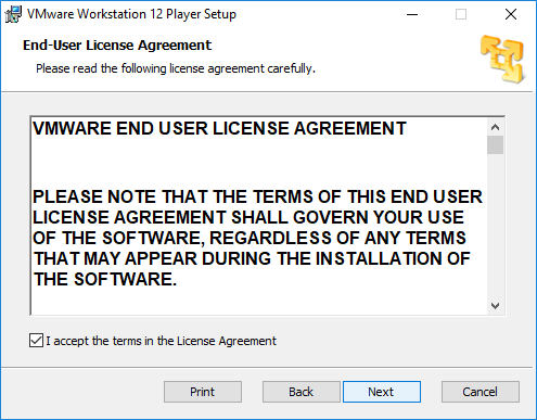 Aceptar contrato de licencia VMware Worstation 12 Player