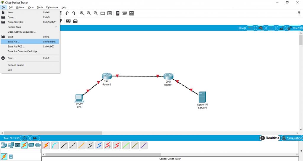 Guardado de la topología en Cisco Packet Tracer