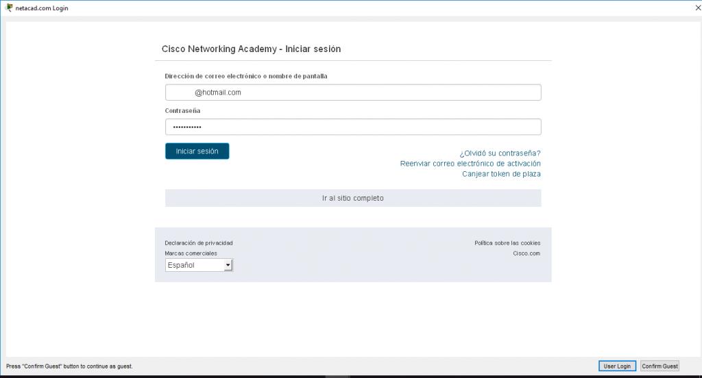 Acceso al portal de Cisco mediante las credenciales de Cisco Netacad