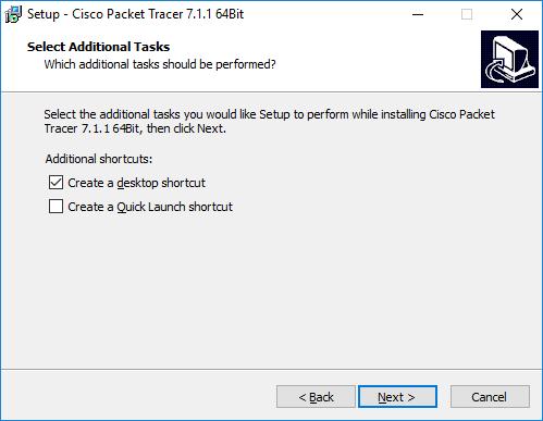 Selección de opciones en la instalación de Cisco Packet Tracer descargar